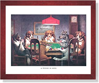 Dogs Playing Poker at Table Animal Picture Framed Art Print #1