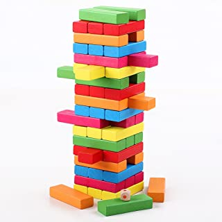 QZM Wooden Stacking Board Games Timber Tower Classic Best Family Fun Educational Games for Kids –Gifts Ideas Color Match (54 Pieces)