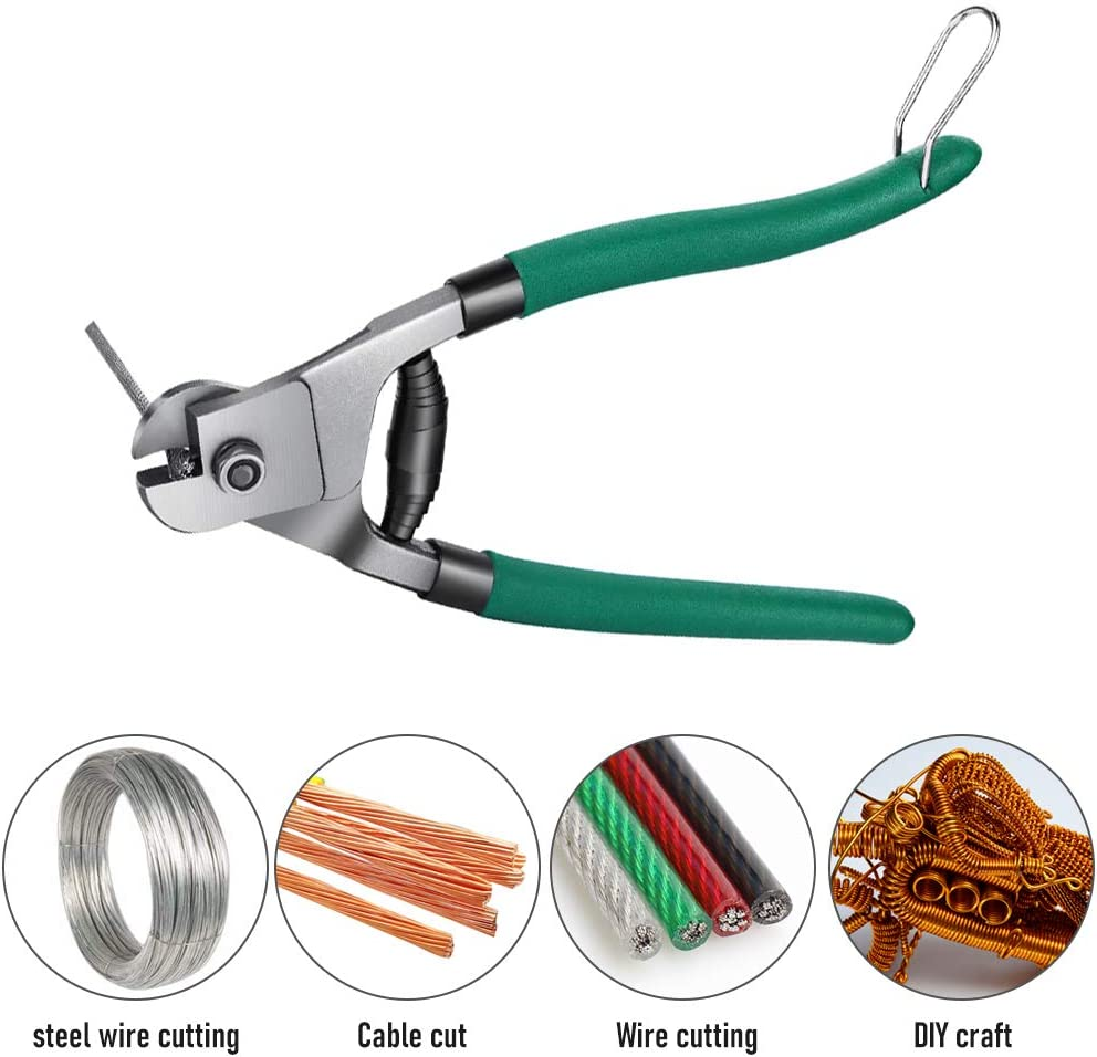 Cable Wire Cutters Heavy Duty Stainless Steel 8 Inch Wire Rope Cutter for Hard-Wires, Aircraft Bicycle, Deck Railing - -