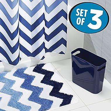 mDesign Chevron Fabric Shower Curtain, Microfiber Bathroom Accent Rug, Wastebasket Trash Can - Set of 3, Blue Multi Color
