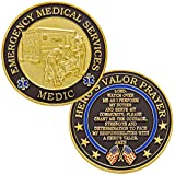 Emergency Medical Services Medic Challenge Coin with Hero's Valor Prayer 1-Pack (Single Coin)