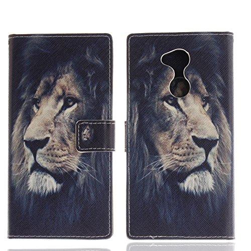 Ooboom® Sony Xperia XA2 Ultra Hülle Flip PU Leder Schutzhülle Handy Tasche Hülle Cover Wallet Standfunktion mit Kartenfächer Magnetverschluss für Sony Xperia XA2 Ultra - Löwe