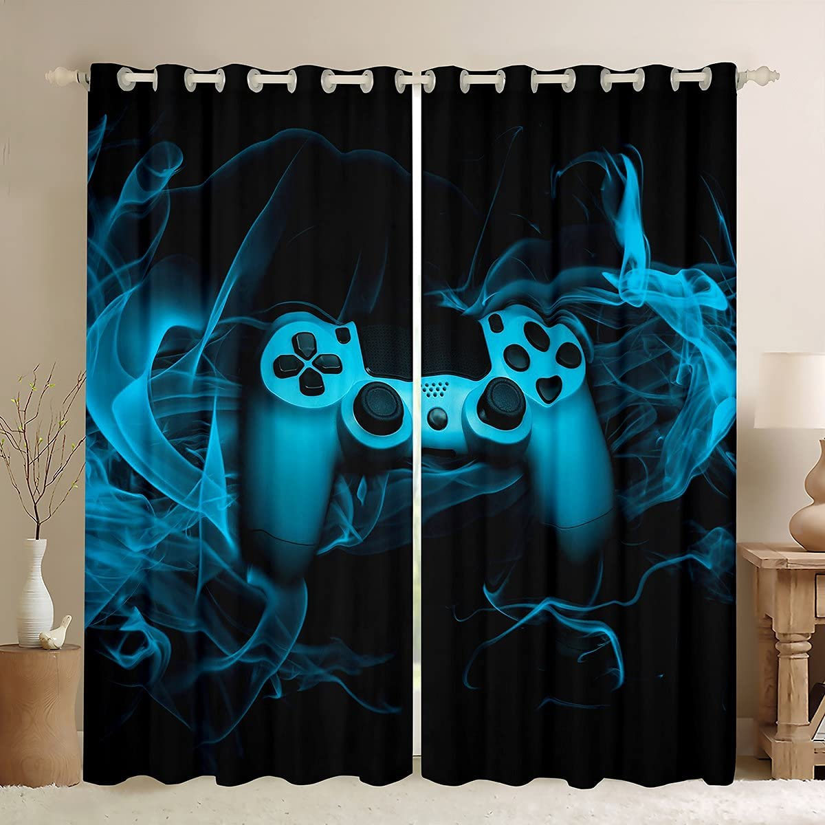 Boy Video Games Oakland Max 42% OFF Mall Window Curtain Kid Teen Smo Gaming Gamepad with