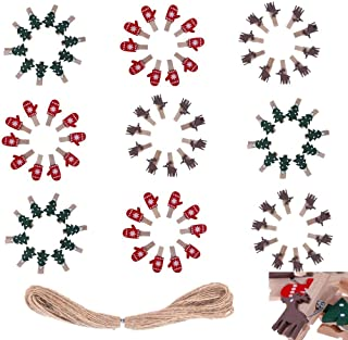 WayJaneDTP 90Pcs Wooden Clips with 20M Hemp Rope Mini Craft Clothespins Christmas Tree Santa Claus Gloves for Artworks Photos Christmas Ornaments
