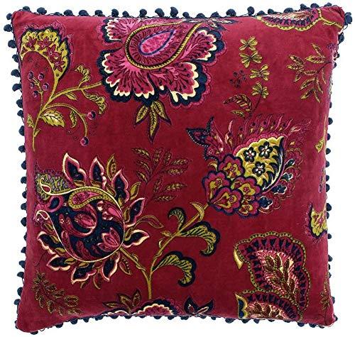 Riva Paoletti Malisa Square Cushion Cover - Pomegranate Red - Paisley Indian Print - Faux Velvet Fabric - Blue Pompom Edges - Machine Washable - 100% Cotton - 50 x 50cm (20' x 20' inches)