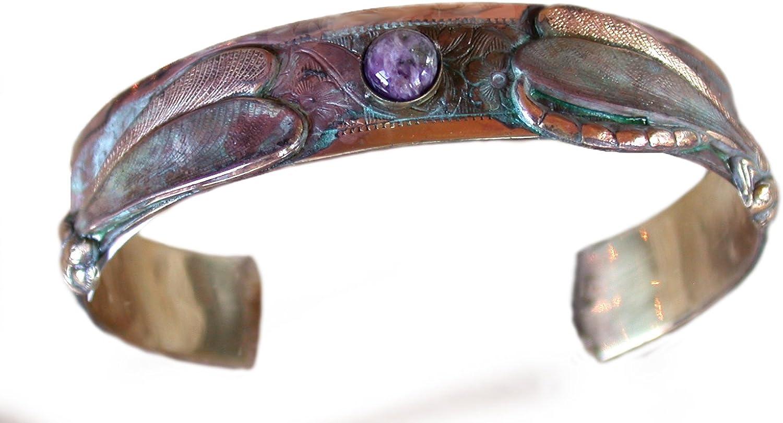 Elaine Coyne Wearable Art Patina Dragonfly Cuff Bracelet - Charroite