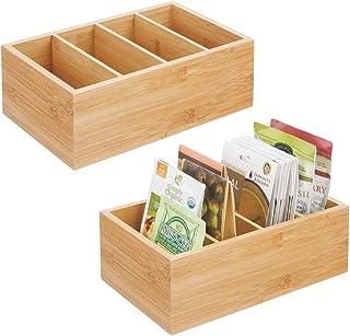 mDesign panier de rangement pour la cuisine (lot de 2) – boite de rangement pratique avec 4 compartiments pour potages en ...