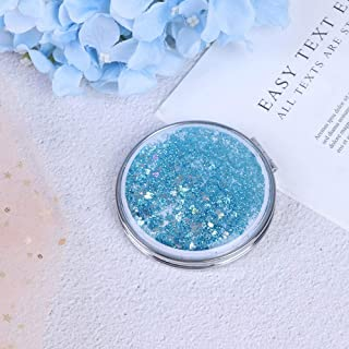 Makeup Mirror, Portable Double-Sided Folding Vanity Mirror, with Flowing Sparkling Sand Mini Makeup Mirror, Sky Blue Detazhi