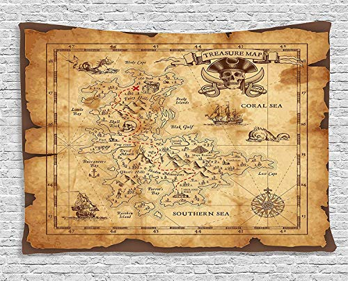 Ambesonne Island Map Tapestry, Super Detailed Treasure Map Grungy Rustic Pirates Gold Secret Sea History Theme, Wide Wall Hanging for Bedroom Living Room Dorm, 80