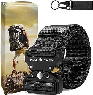MLAI Tactical Belts for Men Nylon Belts for Men Heavy Duty Webbing Belt Military Belt Style Quick Release Belt with Adjustable Army/Police/Women Kids/Key Ring