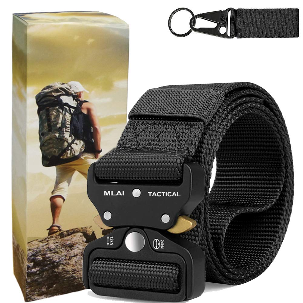 Fairwin Mens Tactical Belt 1.5 Inch Cobra Buckle Belt Adjustable Military Style Nylon Belt with V-Ring Heavy-Duty Quick-Release Metal Cobra Buckle
