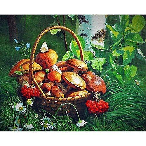 Zhonchng DIY Schilderen door Aantal Kits,Mand Olieverf Tekenen Canvas met Borstels Kerst Decor Decoraties Geschenken - 16 * 20 Inch Met frame
