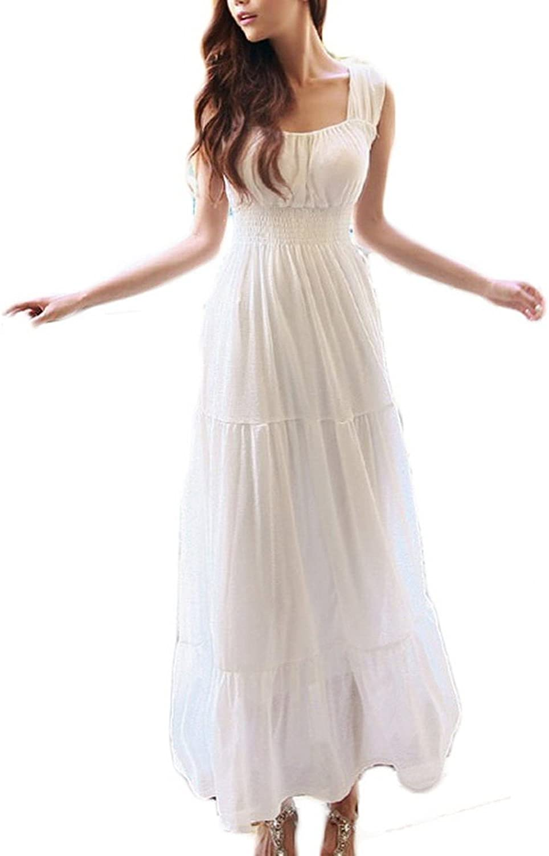 COOLSKY Women's Sleeveless Chiffon Summer Holiday Beach Strap Maxi Long Dress, White