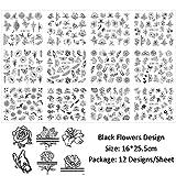 JCFS 12PCSミックスブラックフラワーネイルアートステッカーデカール中空花蝶水転写スライダーマニキュアデコレーション (Color : Black)