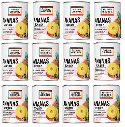 Ananas in Dosen von Fairtrade Original | 560 g Ananasscheiben in eigenem Saft | 10 Ananas Scheiben ohne Zucker | Sweet Pineapple | Dosen Ananas Fair Trade und natürlich (12 Dosen (je 560g))