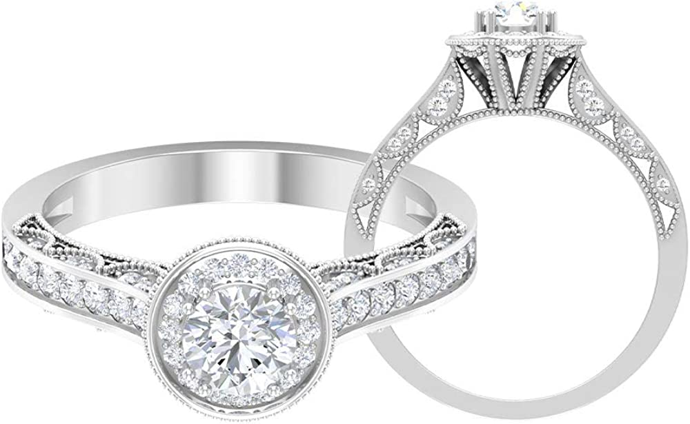 Art Ranking TOP4 Deco Engagement Ring HI-SI CT 1 Halo Solitaire Ranking integrated 1st place Diamond