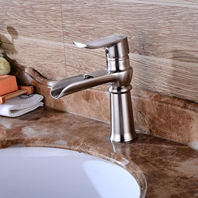 Lvsede Bad Wasserhahn Design Küchenarmatur Niederdruck Gebürsteter Wasserfall Heies Und Kaltes Wasser Keramikventil Einlochmontage Einhandgriff H1847