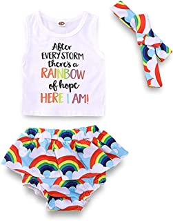 YOUNGER TREE Toddler Infant Baby Girls Clothes Rainbow Short Set Vest Headwear Summer Skirt Set Outfits
