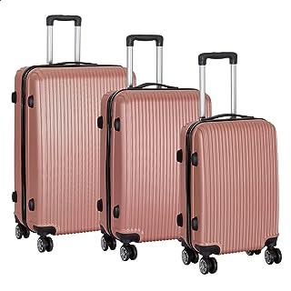 مجموعة حقائب سفر بعجلات من جيه بي، 3 قطع - بينك ذهبي