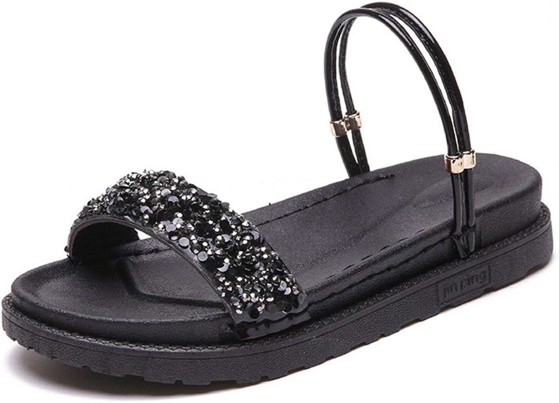 T-JULY Womens Ladies Fashion Wedge Bohemia Diamond Platform Walking Sandals Slip on Comfy Dressy Slippers
