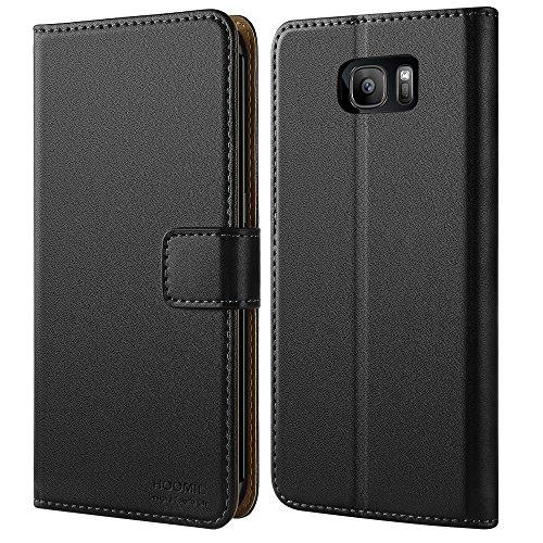 HOOMIL Handyhülle für Samsung Galaxy S7 Edge Hülle, Premium PU Leder Flip Schutzhülle für Samsung Galaxy S7 Edge Tasche, Schwarz