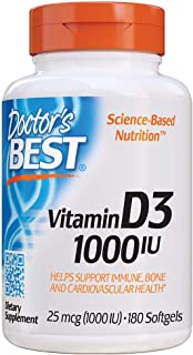 Doctor's Best Best Vitamin D3 1000 IU, Softgel Capsules, 180-Count