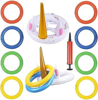 Toss game, WENTS Juguetes inflables de unicornio blanco con 8pcs anillos coloridos 2pcs sombreros y una bomba manual de PVC para niños y padre-hijo en fiesta excursión navidad pascua césped escuela