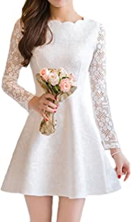 Best white crochet lace skater dress Reviews