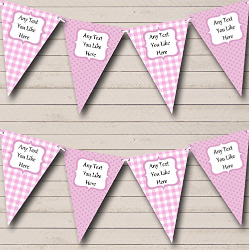 Pink Gingham and Polka Dot Welcome Home New Baby Bunting Banner Garland