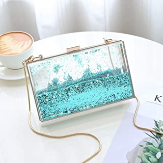 Fashion Outdoor Multi-Functional Acrylic/Liquid Transparent Box Female Small Square Package/Shoulder Diagonal Chain Bag (Color : Green)