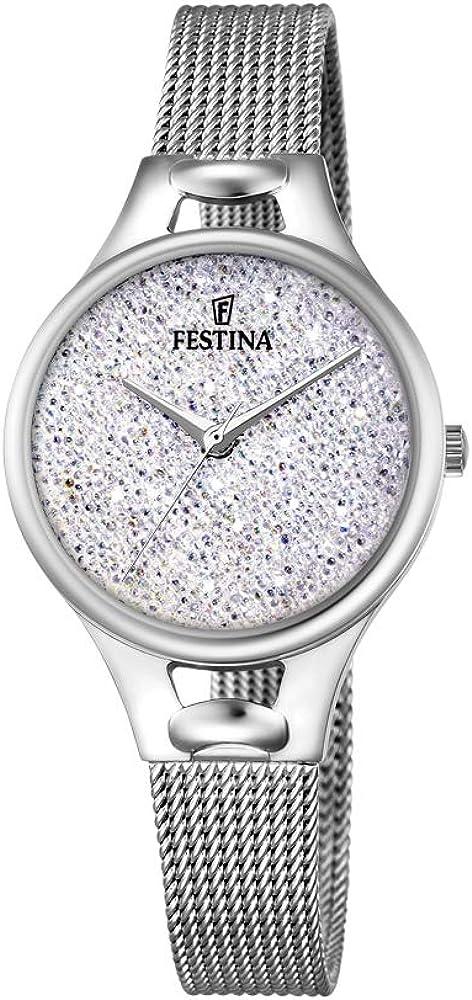 Festina orologio analogico quarzo da donna con cinturino in acciaio inox F20331/1
