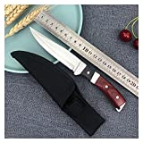 Meat Cleaver Chef Knife 4' Boning Knife Stainless Steel Butcher Knife Meat Cleaver Fruit Outdoor Camping Tool Chef Knife with Sheath By LLZZ (Color : Knife with Sheath)