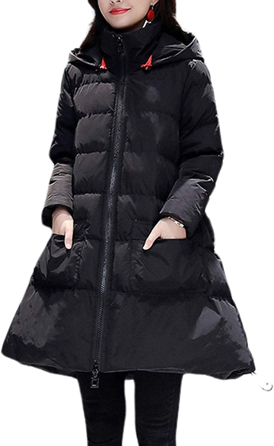 Uaneo Women's Mid Long Casual Loose A-Line Swing Hoodie Quilted Padded Parkas Jackets(Black-XL)