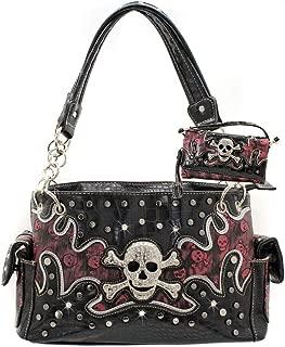 Western Rhinestone Studded Skull Concealed Carry Handbag and wallet set