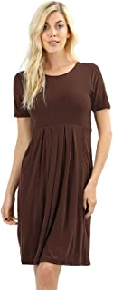 Women's Pleated Swing Dress Short Sleeve Casual T Shirt Loose Dress with Pockets