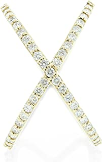 Round Diamond Criss-Cross Orbit Ring in 14k Yellow Gold