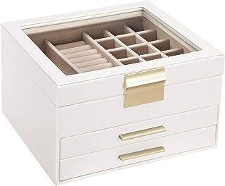 SONGMICS Boîte à bijoux avec couvercle en verre, Coffret à bijoux à 3 niveaux avec 2 tiroirs, Présentoir, Organisateur, id...