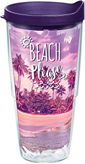Tervis 1288304 Beach Please Tumbler with Wrap and Royal Purple Lid 24oz, Clear