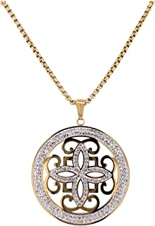 Bevilles Yellow Stainless Steel Pave Crystal Disc Necklace