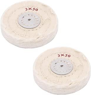 NIUPIKA White Soft Cotton Polishing Buff Wheel Bench Grinder with Arbor Hole (3 Inch (50 Ply))