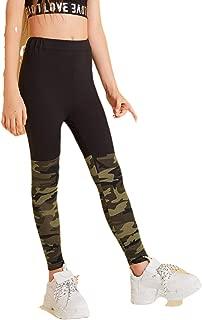 ROMWE Girl's Geo Print Mesh High Waist Leggings Tights Skinny Yoga Pants Runing Jogger Pants