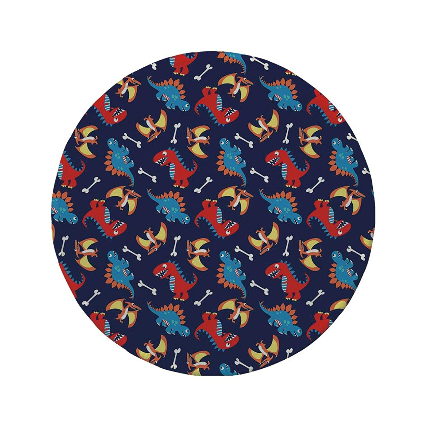 Non-Slip Rubber Round Mouse Pad,Dinosaur,Three Different Cartoon Dinosaurs Funny Expressions and Bones Kids Theme,Navy Blue Orange Red,7.87