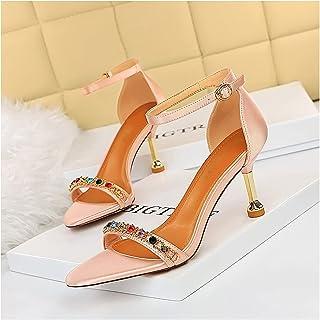 GSYNXYYA Talons Hauts féminins, 2,95 Pouces Sexy Silk Single Chaussures pour la discothèque, Mode d'été Mode Pointu des Ta...