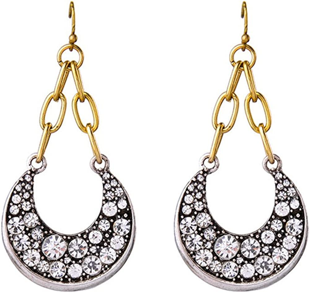 Bling Toman Rhinstone Moon Pendant Hoop Earring,This Earring Will Make You Outlook In Any Evening