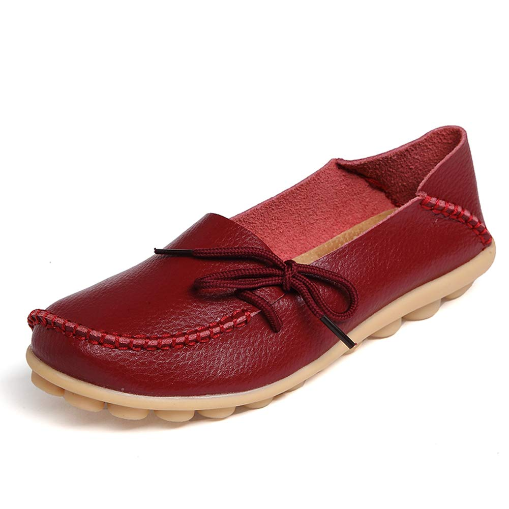 Amaxuan Leather Loafers Driving Burgundy