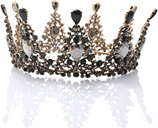 Catery Black Baroque Tiaras and Crowns Crystal Flower Bride Wedding Crowns Vintage Decorative Bride Queen Tiaras Hair Accessories for Women and Girls