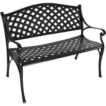 Sunnydaze Outdoor Patio Bench - Black Checkered Design - Durable Cast Aluminum Metal - 2-Person Seating - Outdoor Garden Bench - Patio Decor Seating - Front Porch Furniture - Entryway Bench