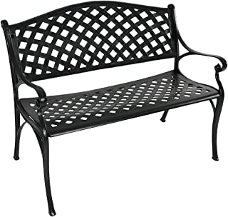 Sunnydaze Black Checkered Outdoor Patio Bench, Durable Cast Aluminum Metal, 2-Person Seating