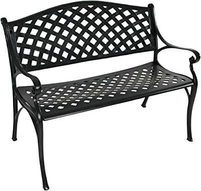 Sunnydaze Outdoor Patio Bench - Black Checkered Design - Durable Cast Aluminum Metal - 2-Person Seating - Outdoor Garden Bench - Patio Decor Seating - Front Porch Furniture - Entryway Bench