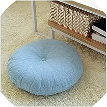 Mo Duo New Linen Futon Cushions Thick Circular Large Fabric Floor Meditation Japanese Style Balcony Window Tatami Cushion Throw Pillow,F,Diameter 60CM